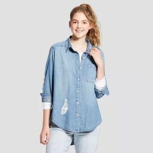 Distressed Denim Button Down Long Sleeve Shirt